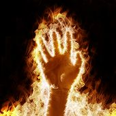 human hand open arms fire on a black background poster