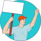 Drawing sketch style illustration of a union worker protester activist unionist protesting striking with fist up holding up a placard sign looking to the side set inside circle on isolated background. poster