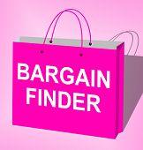 Bargain Finder Bag Displays Internet Comparison 3d Illustration poster