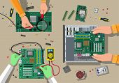 Components for personal computer. Service, recovery, warranty, fixing. Assembling PC. Computer hardware. Vector illustration in flat style poster
