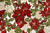 Cotton fabric with a bright Christmas Poinsettia design. Fabric has a grain. poster