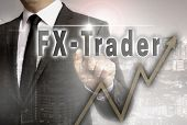 FX trader is shown by businessman concept. poster