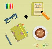 Stationery: A day planner spiral-bound with the cute purple flowers and polka dots. A tab. The glasses. A pencil. Clips. A marker. To do list. A cup of coffee with a heart. Vector illustration poster