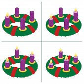 Advent wreath on first, second, third, fourth Sunday of Advent - with one, two, three and four lighted candles in different lengths depending on burning time in chronological order. Vector on white. poster