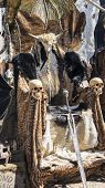Glory Throne of furs and skulls with a Viking sword. Chair with animal skins poster