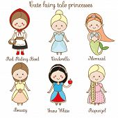 Cute kawaii fairy tales characters. Snow white red riding hood rapunzel cinderella and other princess in beautiful dresses. Cartoon style. Children stickers kids illustration scrapbook elements poster
