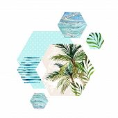 Abstract geometric hexagon shapes with palm tree leaf marble grunge textures watercolor stripes. Geometrical background in retro vintage 80s or 90s. Hand painted summer beach illustration poster