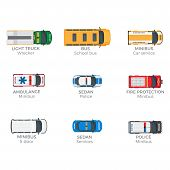 Emergency vehicles top view icons set. Various technical support, police and rescue services minibuses isolated flat vectors. Municipal services special vans illustrations for city infographics poster