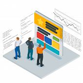 Banner in a flat 3d isometric style. Optimization of websites. People and the website page. Infographics and program code. People Web site development. Web site analytics service. Vector illustration poster