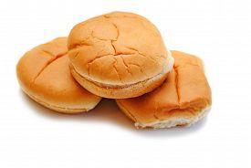 Three Fresh Hamburger Rolls Isolated Over White