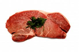 Raw Organic Beef Steak with Fresh Parsley