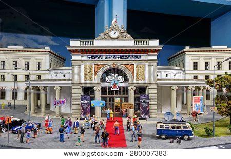 Wroclaw, Poland - December 12, 2018: Miniature Model Of Kolejkowo Building - Largest Model Train Exh