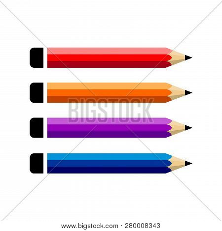 Pencil Vector Set Color Flat On White Background, Pencil Icon, Pencil Color Vector, Pencil Collectio