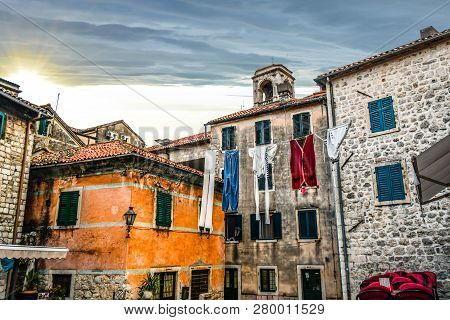 Kotor, Montenegro - September 23 2018:  An Oversized Display Of Laundry Hangs Over A Small Village S