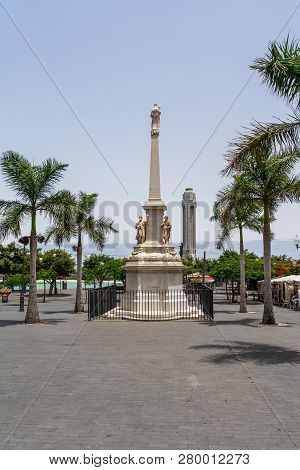Santa Cruz, Canary Islands, Spain - July 28, 2018: Obelisco De La Candelaria (1768) On The City Squa
