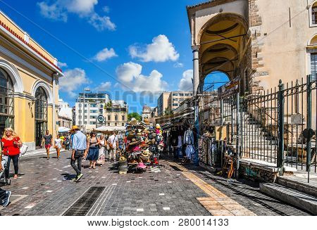 Athens, Greece - September 19 2018: Tourists Shop And Sightsee The Stores, Marketplace And Stalls Se