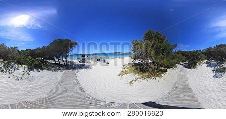 360 Degrees View Of Maria Pia White Sand Beach In Alghero. Sardinia, Italy