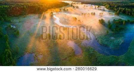 Spring Nature. Spring Aerial Landscape. Panorama Of Colorful Sunrise Over Spring Meadow With Mist. C