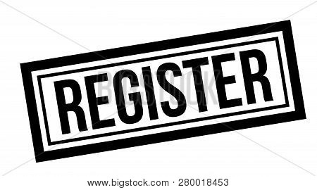 Register Typographic Stamp, Sign, Label. Black Rubber Stamp Series.