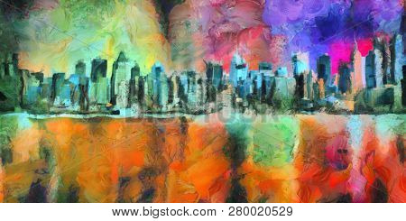 Colorful abstract painting. New York Skyline. Manhattan. 3D rendering