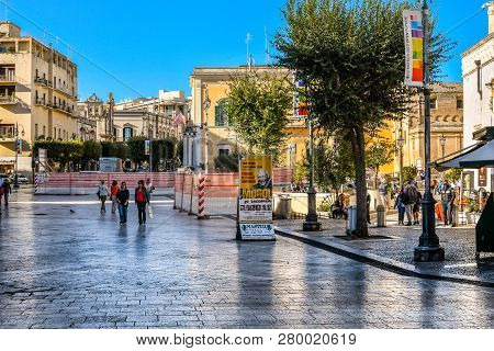 Matera, Italy - September 24 2018: Local Italians Enjoy A Sunny Day In Early Autumn In The Matera To