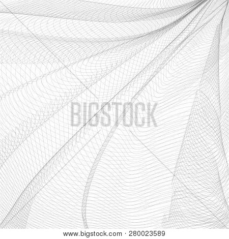 Monochrome Striped Openwork Background. Vector Abstract Pleated Network. Gray Ripple Thin Lines, Sub