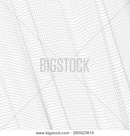 Gray Striped Openwork Background. Vector Abstract Pleated Network. Technology Ripple Thin Lines, Sub