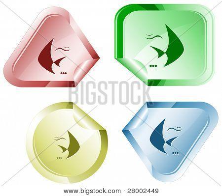 Fish. Stickers. Raster illustration. Vector version is in my portfolio. poster