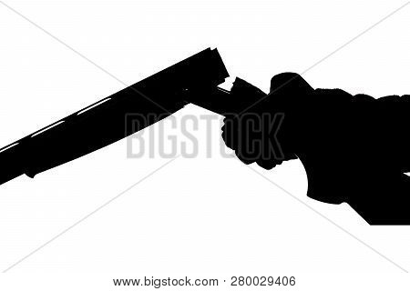 Silhouette Of A Hunting Double-barreled Gun On A White Background. Bockflint In Human Hand In Glove.