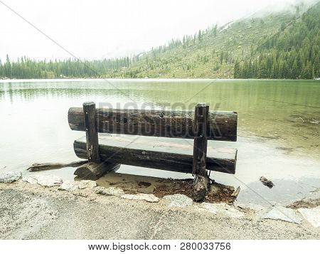 Wooden Bench No People Near Jenny Lake