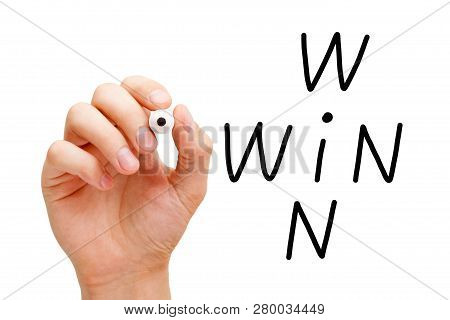 Hand Writing Win Win Situation Crossword Concept With Black Marker On Transparent Wipe Board Isolate