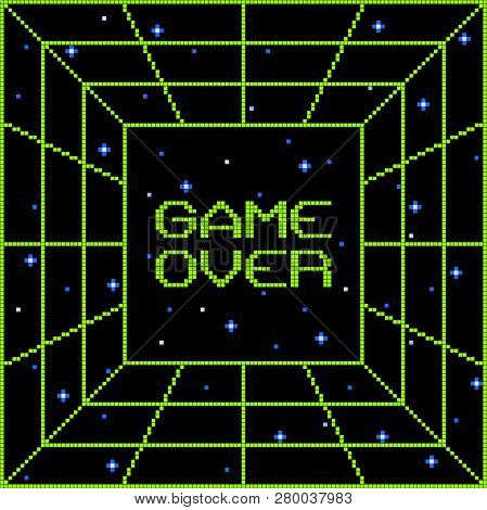 8-bit Pixel Game Over Vortex. Layered File. Each Pixel Is Left As A Vector Square For Any Amends
