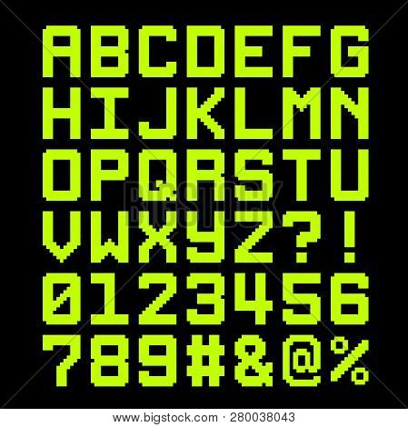 8-bit Pixel Font - Letter And Numbers. Eps8 Vector. Letters Are Formed Out Of Compound Shapes