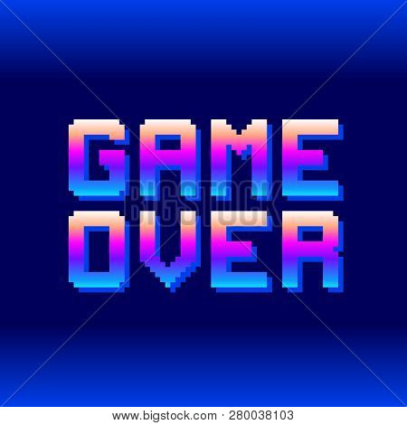 Retro Game Over Pixel Text. Eps8 Vector. Letters Are Formed Out Of Compound Shapes With The Shadows