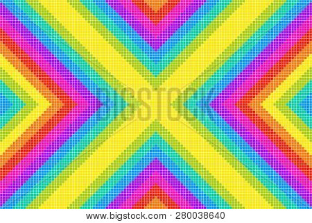 Rainbow Pixel X Pattern Background. Eps8 Vector