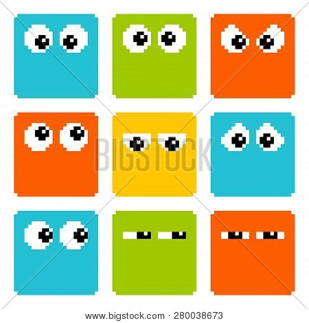 8-bit Pixel Eyes On Square Characters. Eps8 Vector
