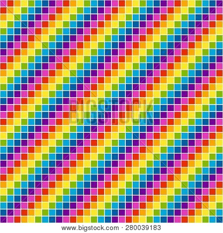 Pixel Rainbow Mosaic Tile, Seamless Background, Eps8 Vector