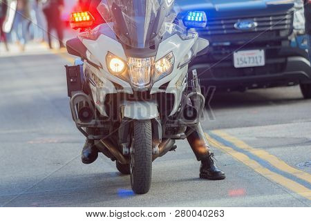 Police Department Motorcycle Officer During 3Rd Womens March In Los Angeles.