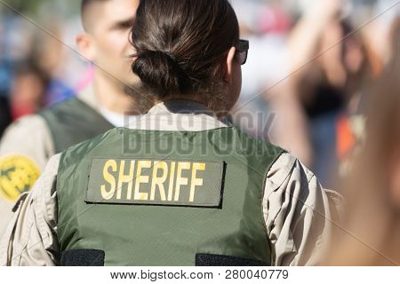 Sheriff Officers During 3Rd Womens March In Los Angeles.