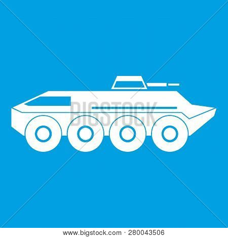 Armored Personnel Carrier Icon White Isolated On Blue Background Illustration