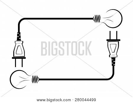 Electric Incandescent Lamp With Wire And Plug. Logo For An Electrical Company. Power Supply And Ener