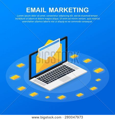 Flat Vector For Email Marketing, Newsletter Marketing, Email Subscription. Vector Stock Illustration