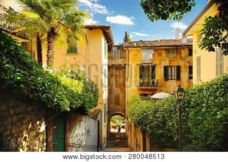 Old Street In Trastevere In Rome, Italy. Narrow Green Street. Tourism And Travel By Italy.