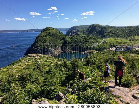 East Coast Trail, Newfoundland And Labrador, Canada - July 24th, 2017: A Group Of Hikers Explore The