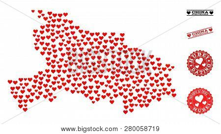 Mosaic Map Of Hubei Province Formed With Red Love Hearts, And Grunge Stamp Seals For Dating. Vector