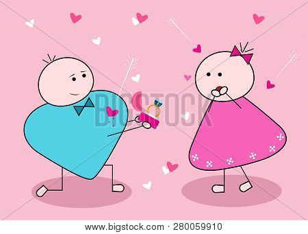 Will You Marry Me? Silhouette Of Young Cute Man And Girl Characters. Couple In Love. Vector Card For