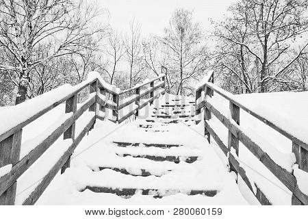 Stairs Under Snow In A City Park In Winter Black And White