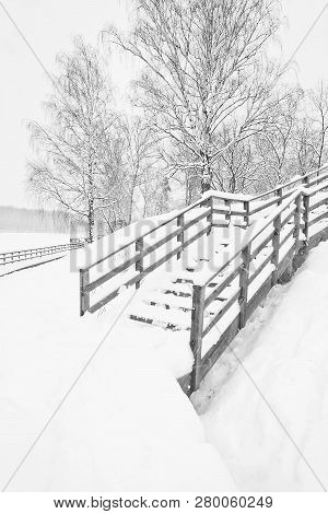 Stairs Under Snow In A Park In Winter Black And White