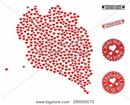 Mosaic Map Of Ko Pha Ngan Composed With Red Love Hearts, And Grunge Watermarks For Dating. Vector Lo