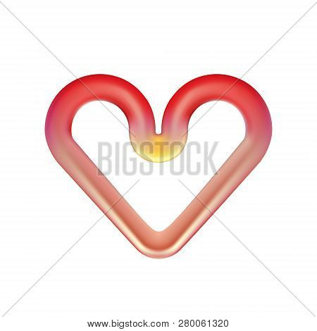 Red Heart Red-hot Heating Element. Infrared Oven Plate, Isolated On Light Background. Abstract Round